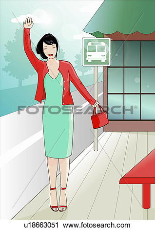 Clipart of Woman at bus station flagging down the bus u18663051.