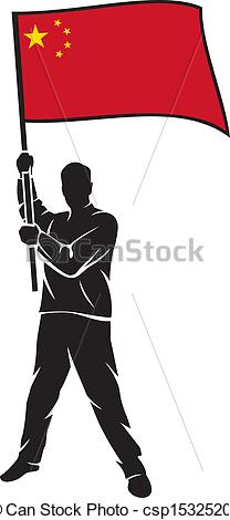 Vector Clipart of man holding china flag csp15325209.