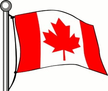 Canada flag on a pole clipart.