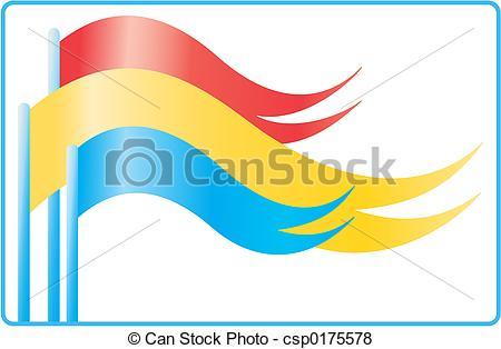 Stock Illustration of flags waving.