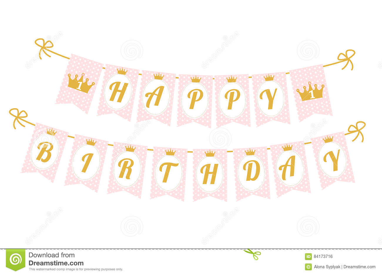 Cute Pennant Banner As Flags With Letters Happy Birthday In.