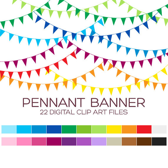 Pennant Banner Flags Clipart for Personal & by coloryourway.
