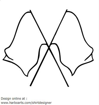 Crossed flags clip art.