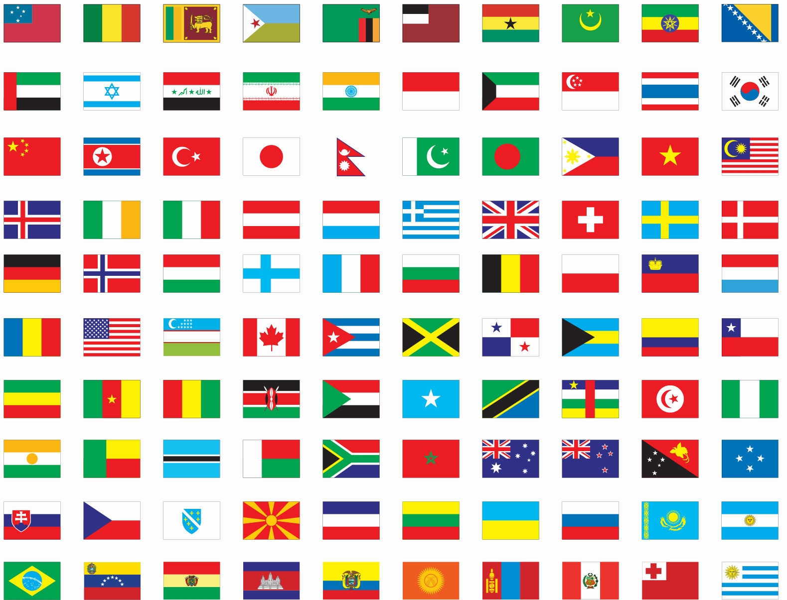 World flags clipart free.