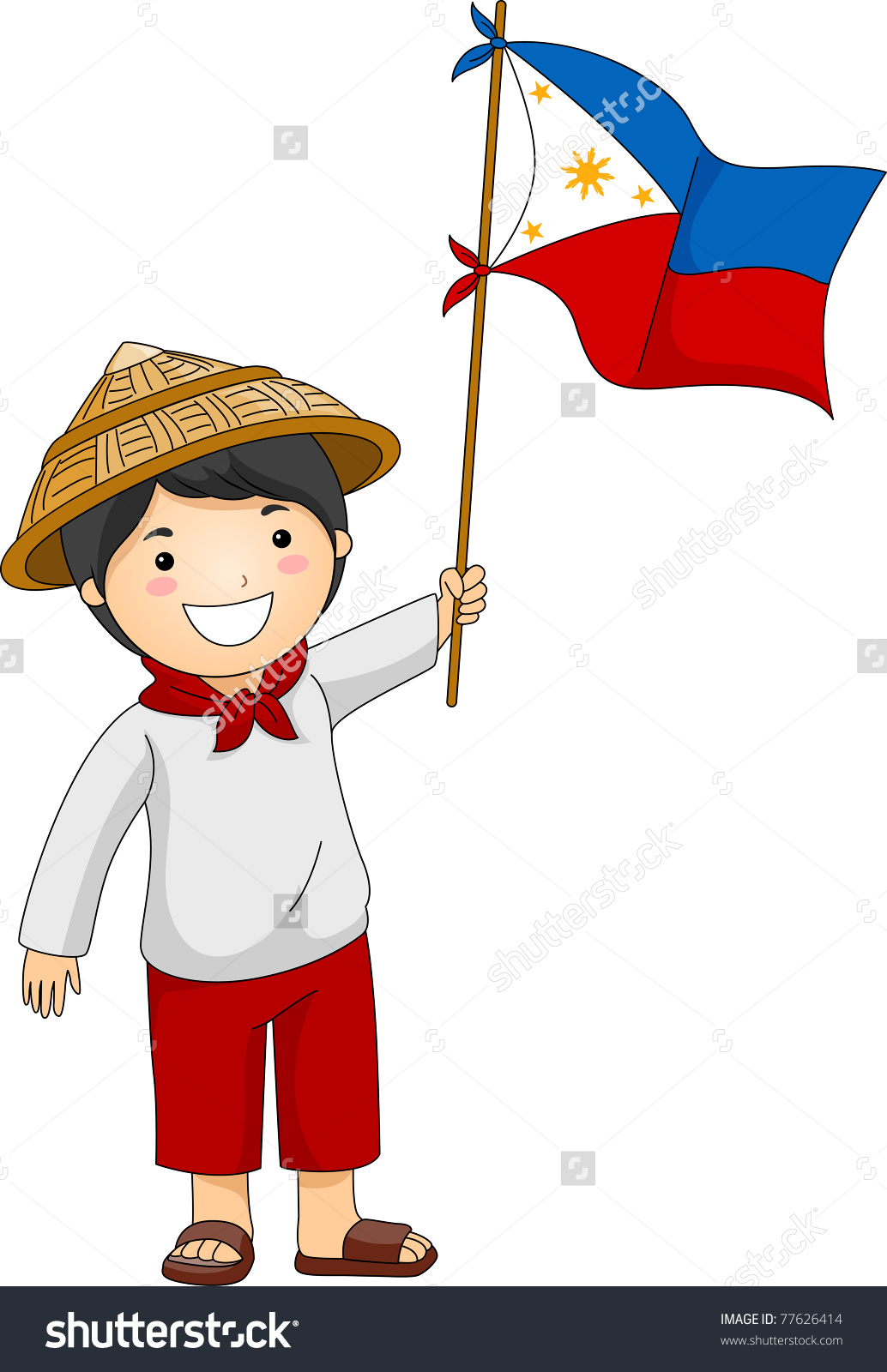 Illustration Filipino Kid Holding Philippine Flag Stock Vector.