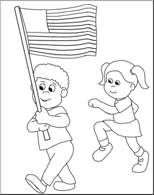 Clip Art: Children Marching with a U.S. Flag (B&W).