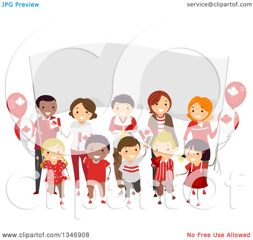 Clipart of a Group of Happy Children and Adults Holding Flags in.