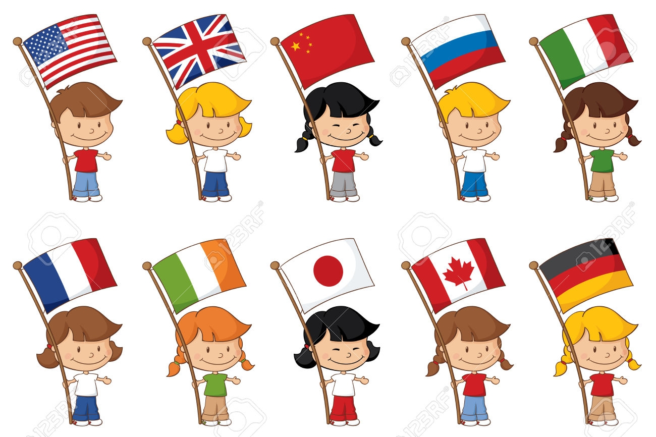 Child Holding Flag Clipart.