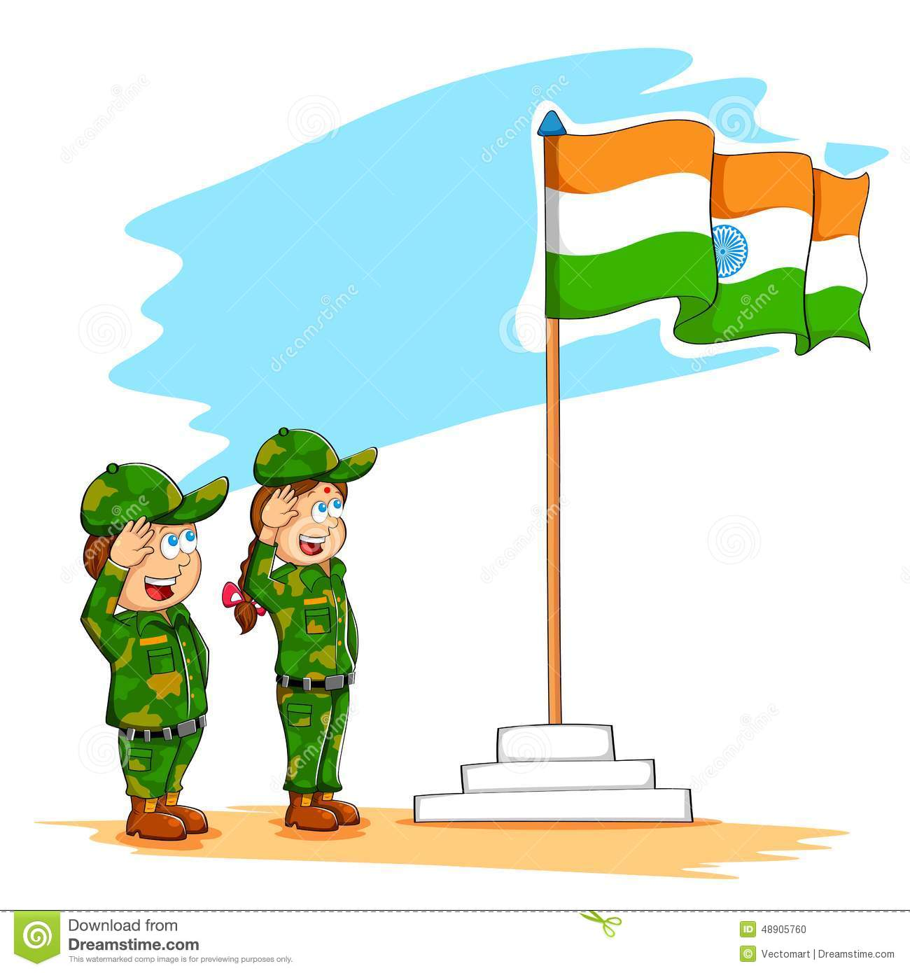 Indian flag with children clipart.