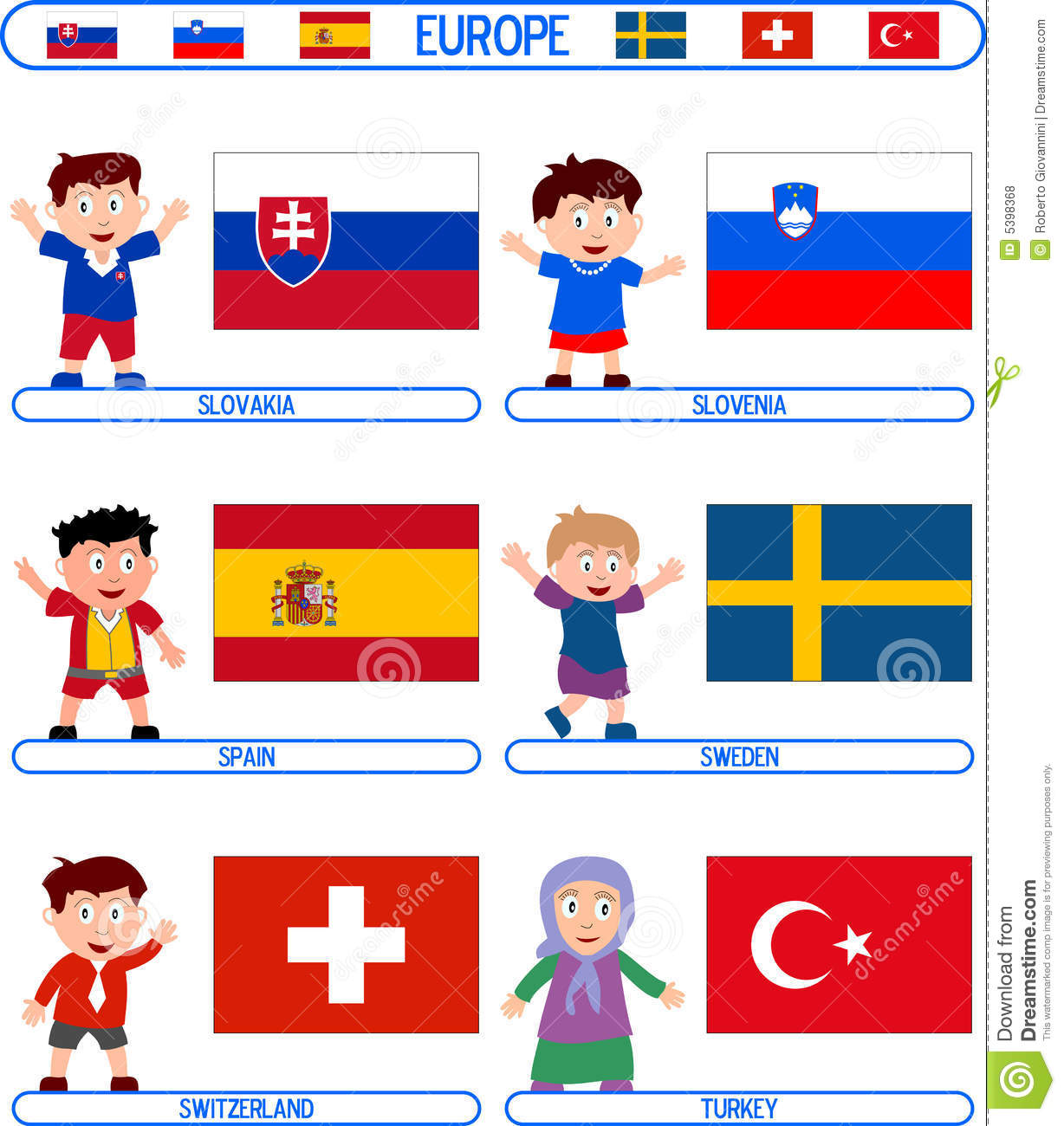 Flags for children clipart