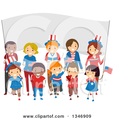 Clipart of a Group of Happy Children and Adults Holding American.