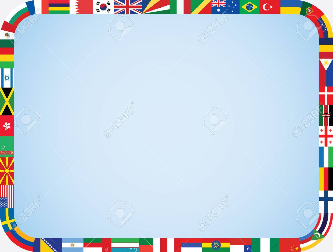 world flags frame with rounded corners vector illustration.