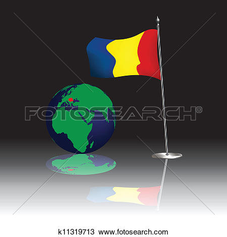 Clipart of Romanian flagship and globe k11319713.