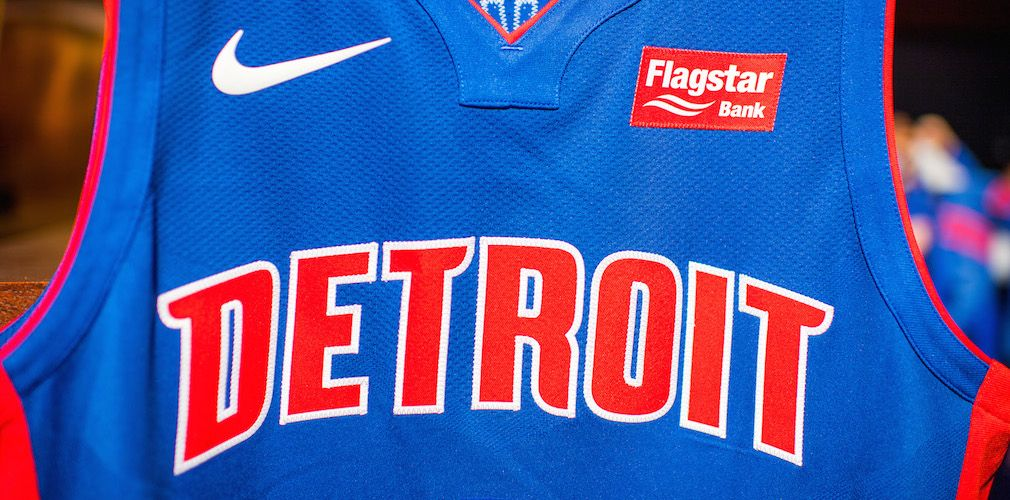 Detroit Pistons pick Flagstar Bank to be first jersey ad.