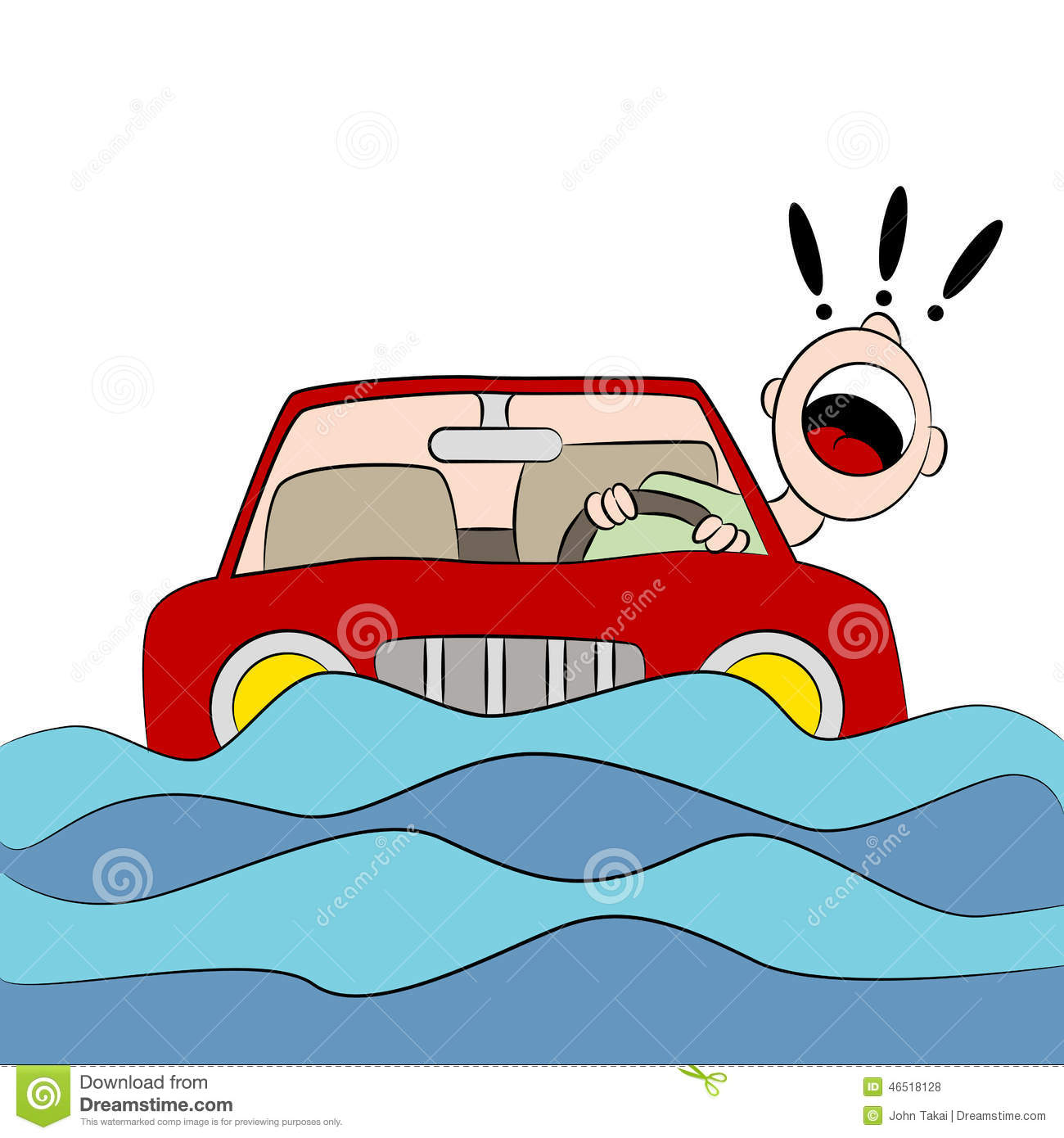 Driver Trapped On Flooded Road Stock Vector.