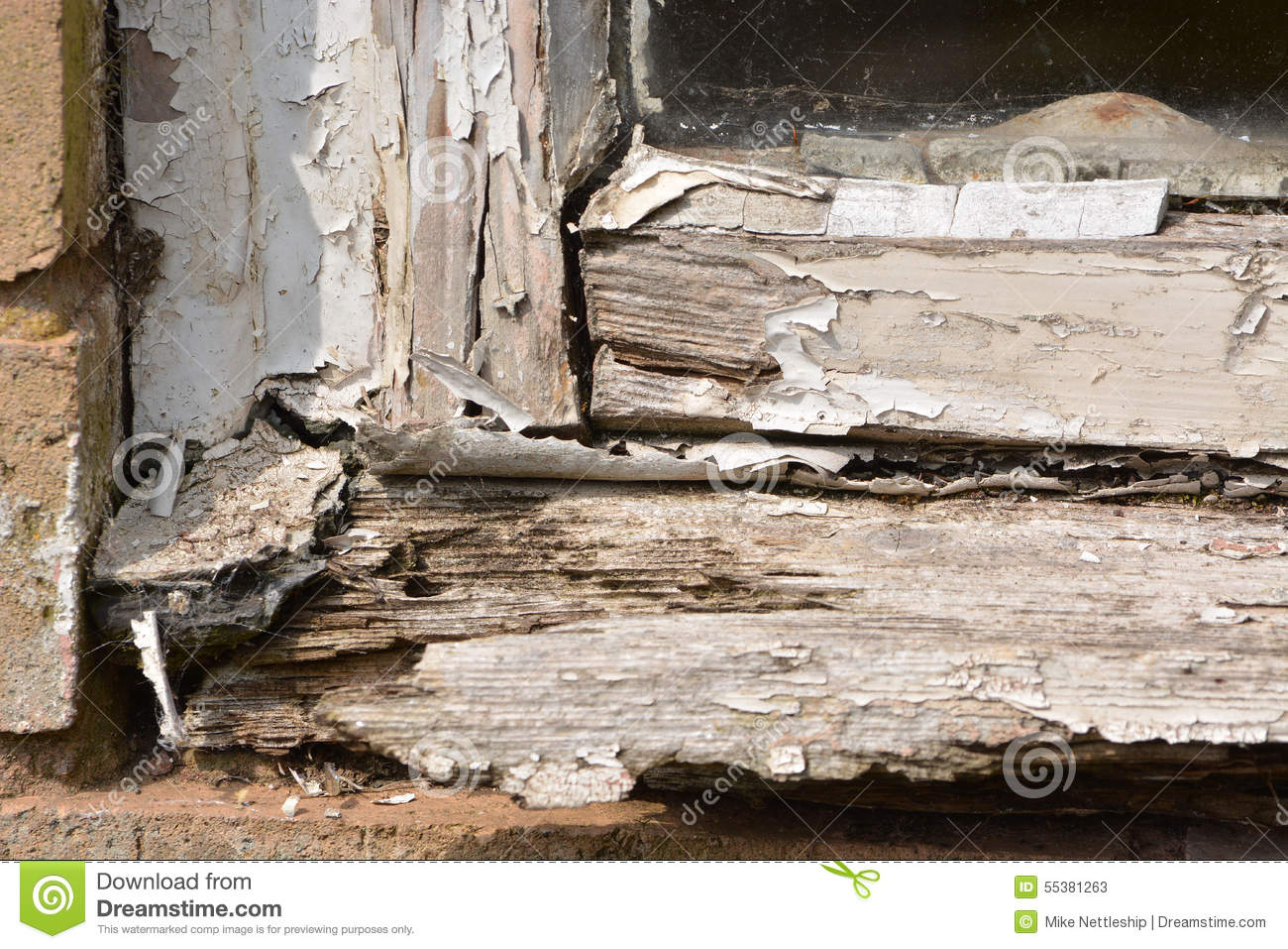 Flaking Paint From A Rotting Wooden Window Frame Stock Photo.