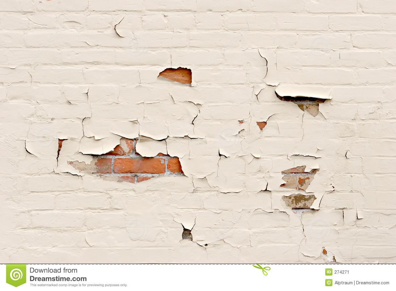 Peeling Paint Over Brick Wall Stock Image.