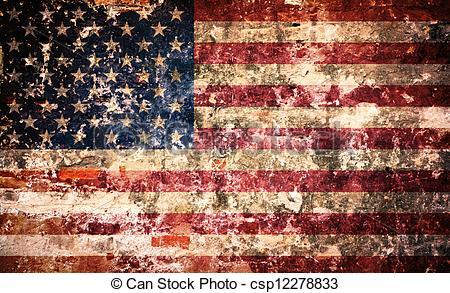 Drawings of USA flag on peeling paint wall.