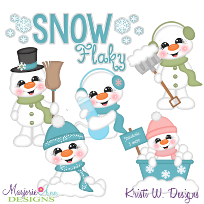 Snow Flaky SVG Cutting Files + Clipart.