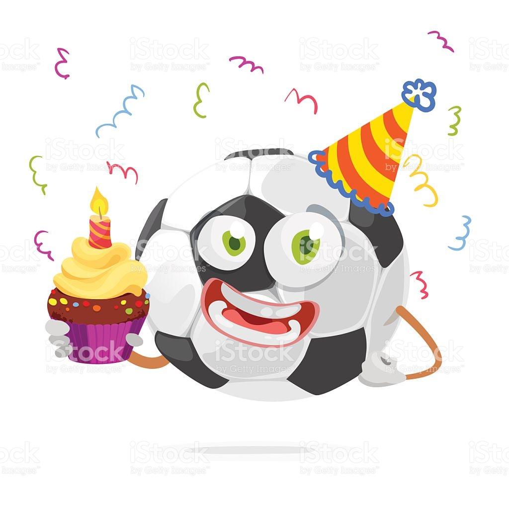 Mascot Cartoon Character Soccer Ball In A Celebratory Cap stock.