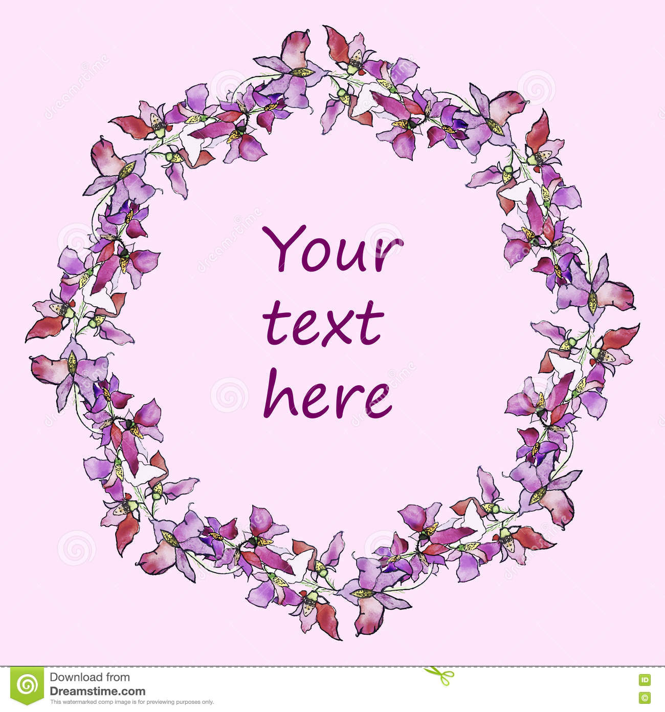 Watercolor Pink Floral Wreath, Hand Drawn Flower Flame Clip Art.