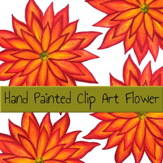 Hand Painted Clip Art Flower Flame Flower Inktense by WaratahLane.