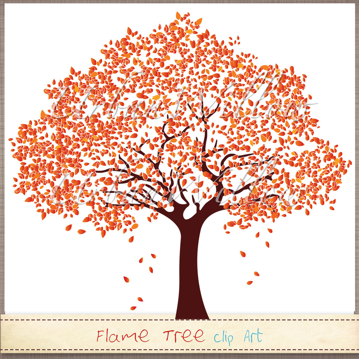 FLAME TREE Clip art image in 3 sizes. Png & Jpeg by UrbanWillow.