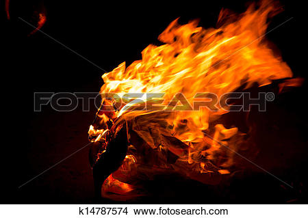 Drawings of fire flame burns joss paper k14787574.
