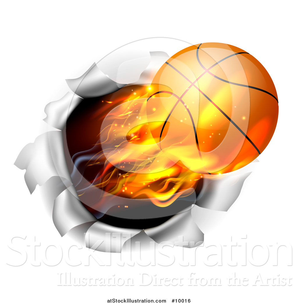 Vector Illustration of a 3d Flying and Blazing Basketball with a.