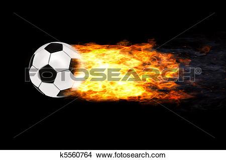 Drawings of Soccer ball in flames k5560764.