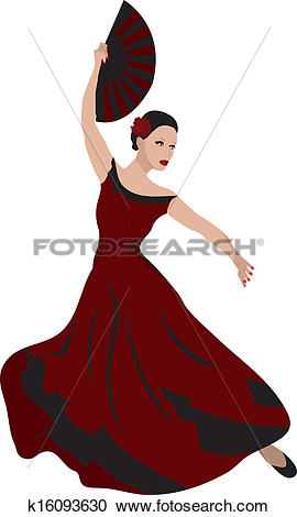 Clipart of young woman dancing flamenco k16093630.