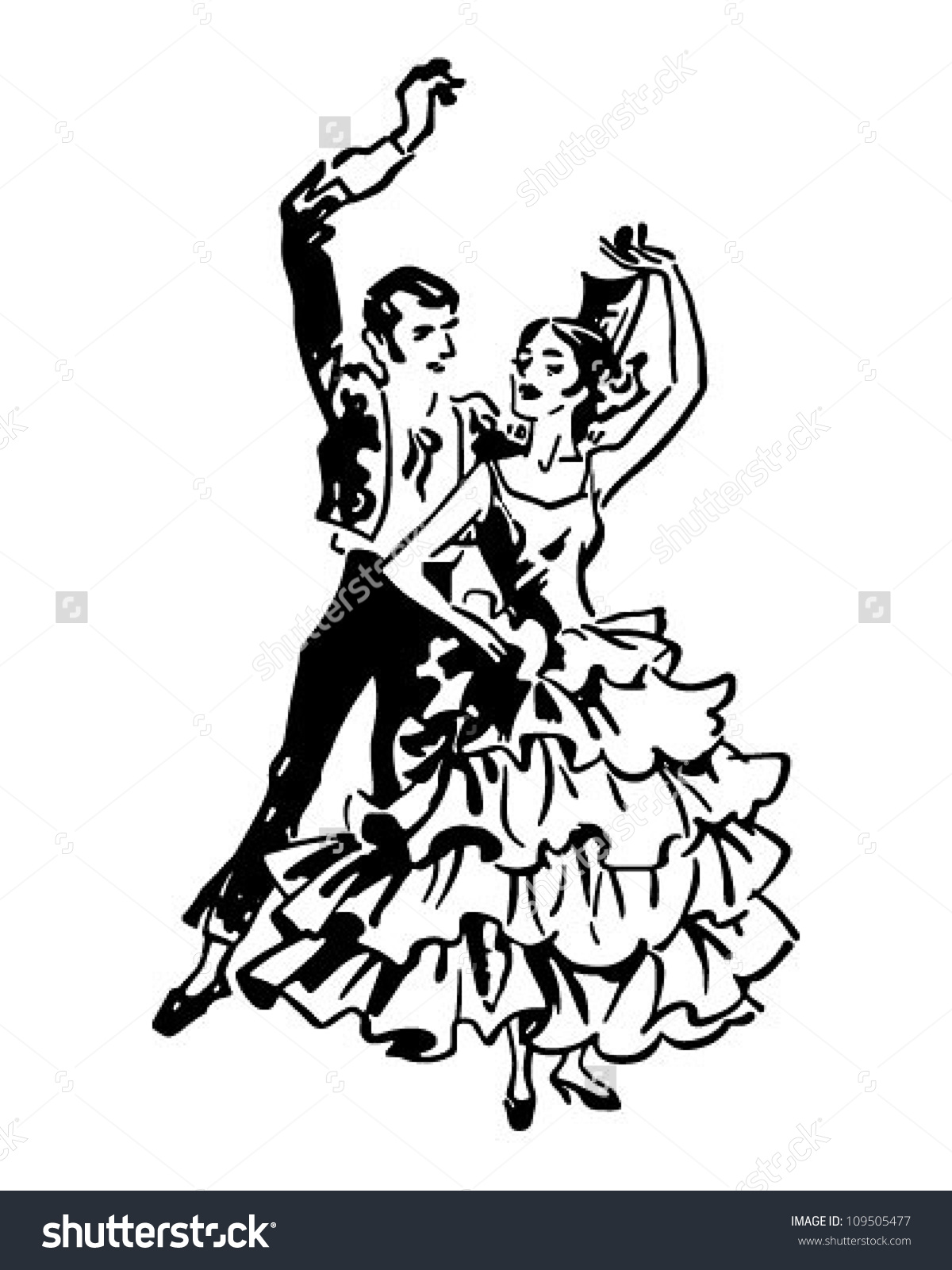 Flamenco dancer man clipart.