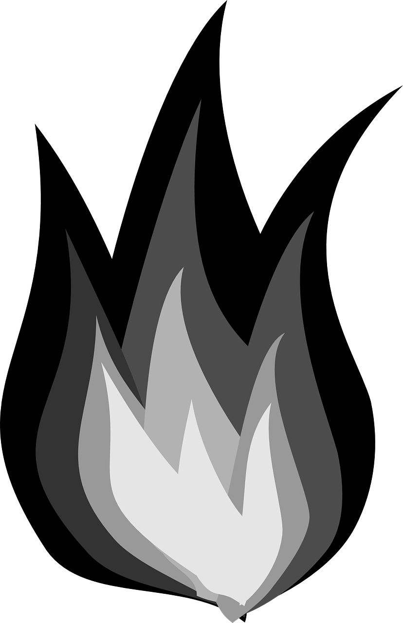 Clipart flames black and white, Clipart flames black and.