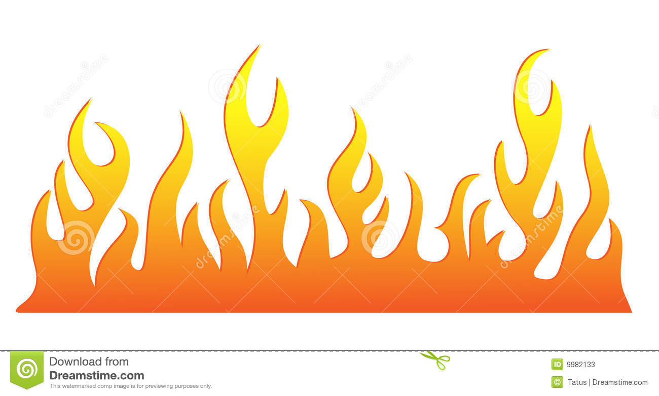 Burning Flame Of Fire Vector Silhouette Stock Photo.
