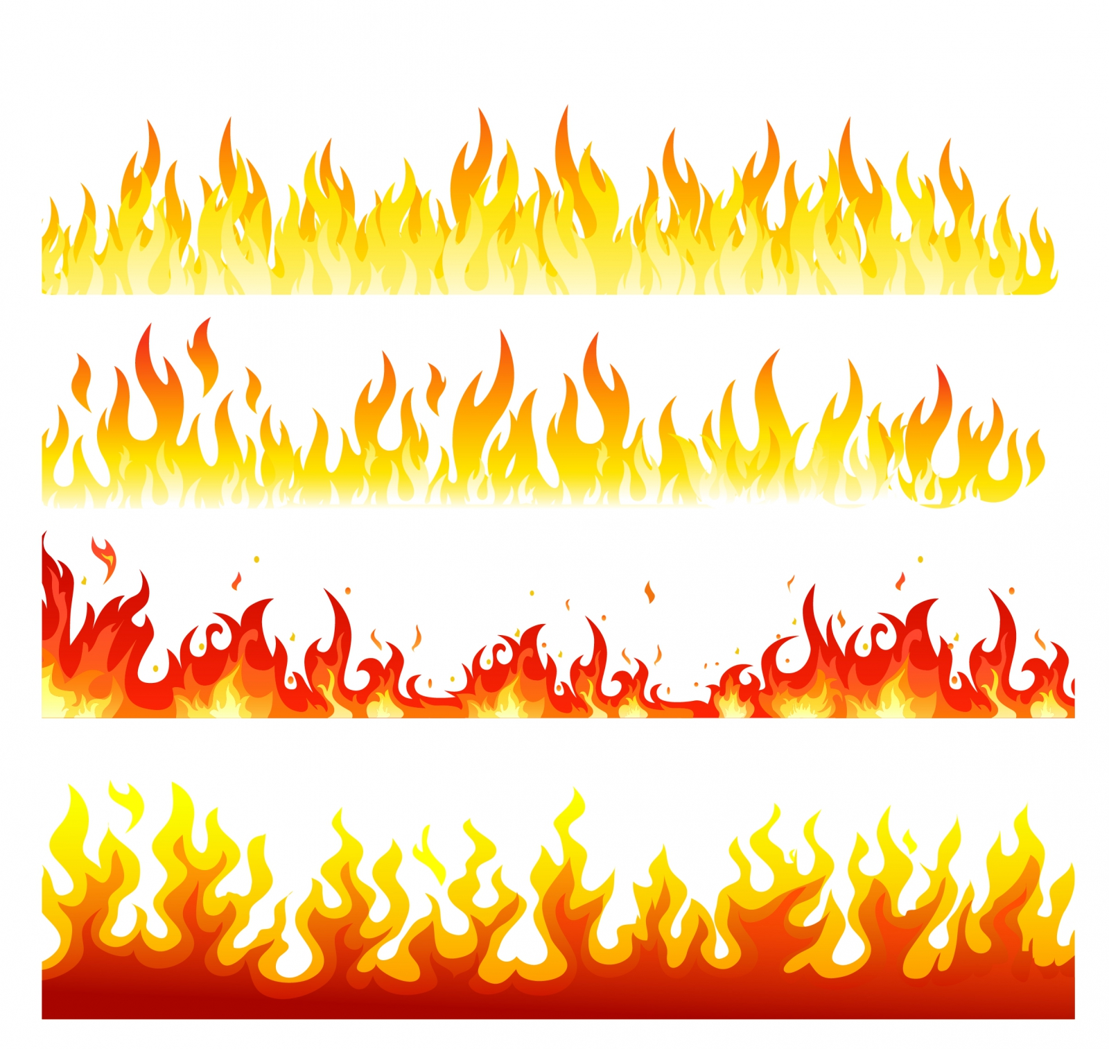Realistic fire flames clipart.
