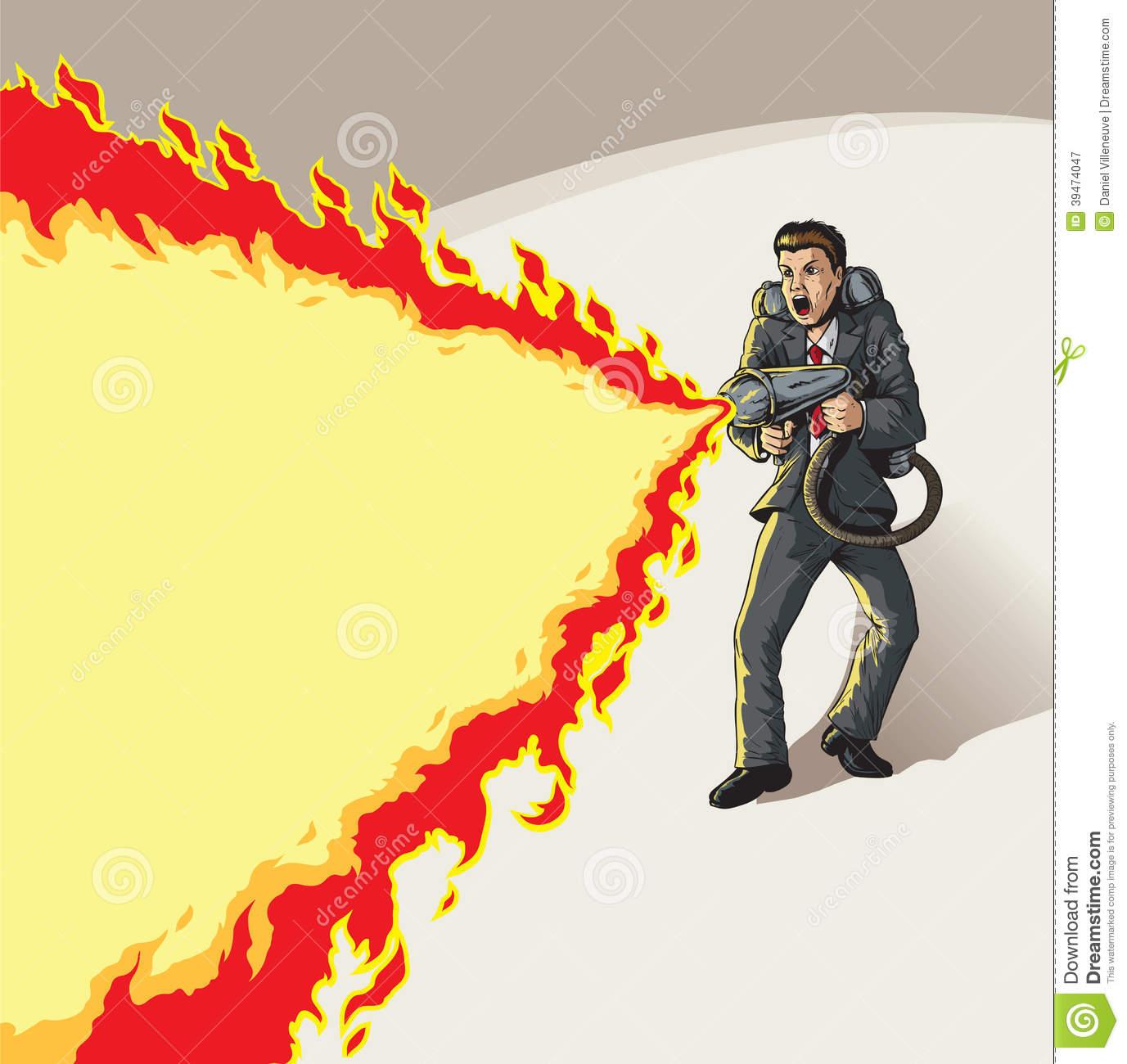 Cartoon Flamethrower. Stock Vector.