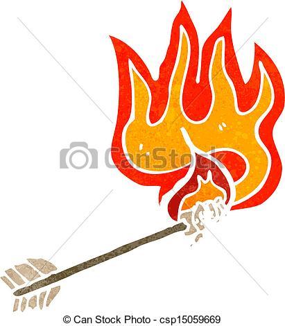 flaming arrow retro cartoon.