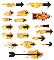 Flaming Arrows Stock Vector.
