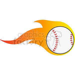 Flaming Baseball Ball clipart. Royalty.
