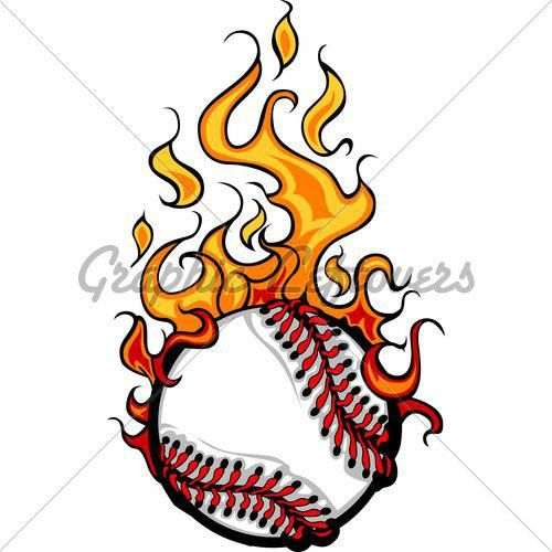 Baseball Softball Flaming Ball Vector Cartoon.