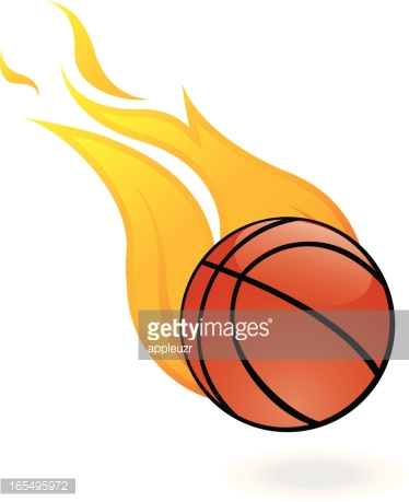Flaming Basketball Vector Art.