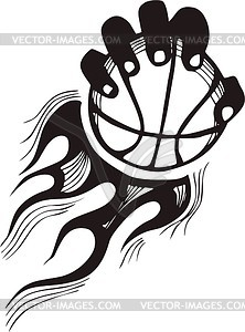 flaming basketball clipart.