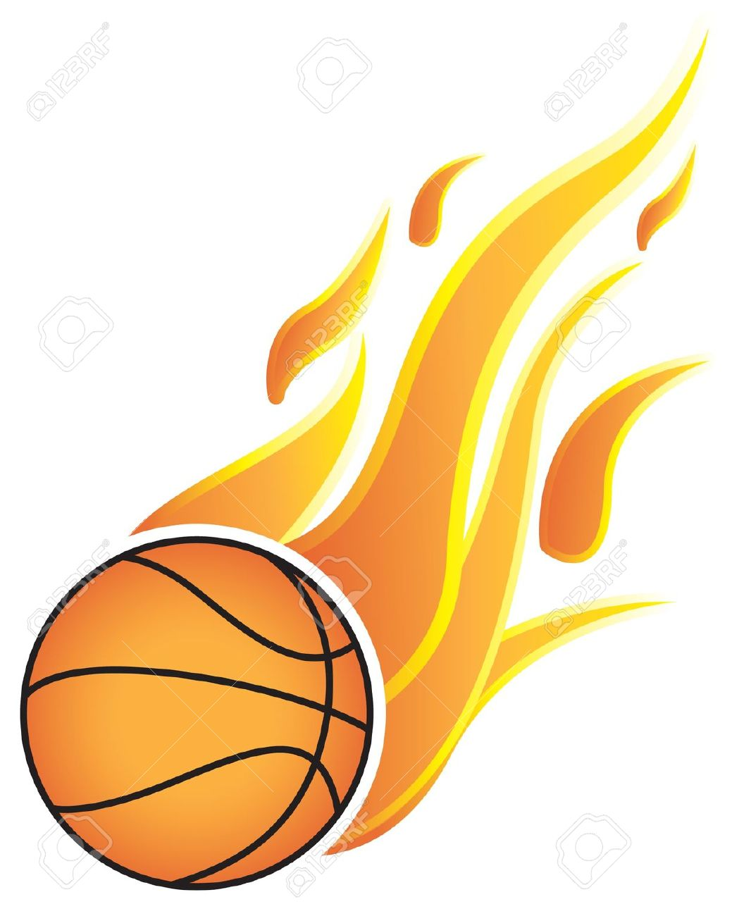 932 Basketball Ball In Fire Stock Vector Illustration And Royalty.