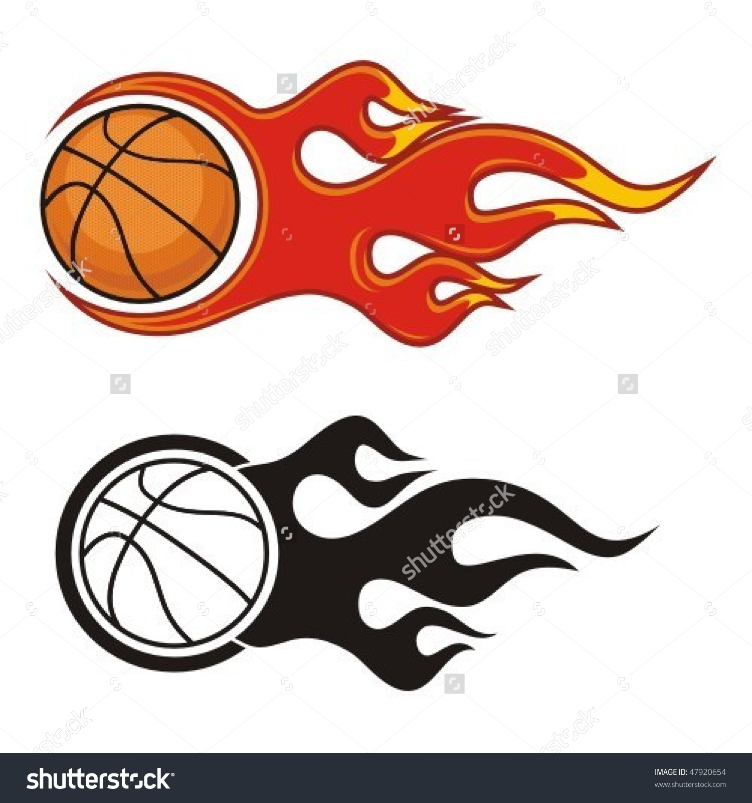 Flaming Basketball Ball Vector Illustration Stock Vector 47920654.