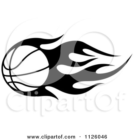 Clipart Of A Black And White Tribal Flaming Basketball 6.