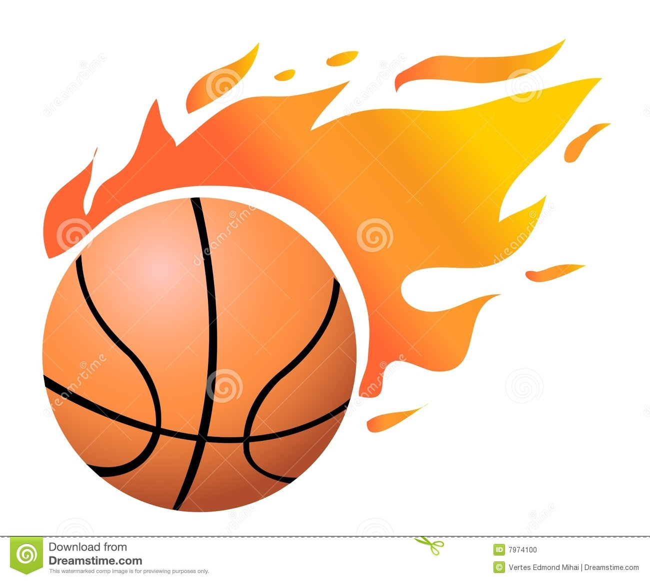 Vector Flaming Basketball Stock Photo.