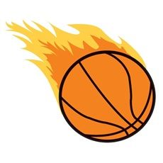 Sports Clipart Image of Basketball On Fire Flaming Blazing Blazers.