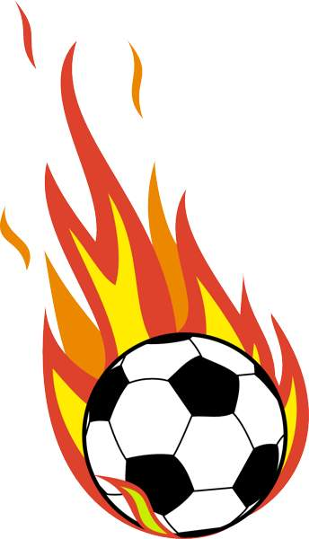 Flaming soccer ball clip art.