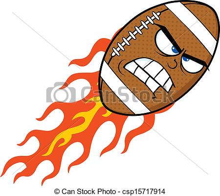 Flaming Football Clip Art.