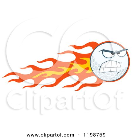Cartoon of a Flying Golf Ball and Flames.